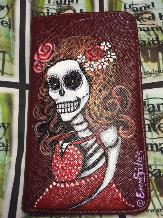 womens wallet - Clutch purse with wrist strap - Hand painted with skeleton girl