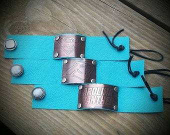 Etched Copper Leather Cuff- Panthers Carolina