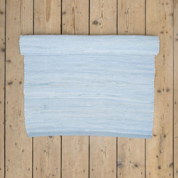 Blue And White Scandinavian Rug: Plain Light Blue Scandinavian Rag Rug