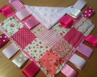 Pretty Pink Patchwork Baby/Toddler Taggy Blanket/Comforter/Gift - can be personalised