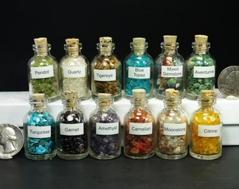 Real GEMSTONE BOTTLES Gems In A Bottle Amethyst, Citrine,, Peridot, Topaz, Tiger Eye, and More!