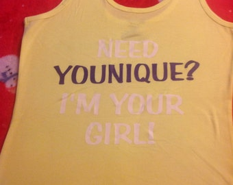 Younique large bright yellow tank top