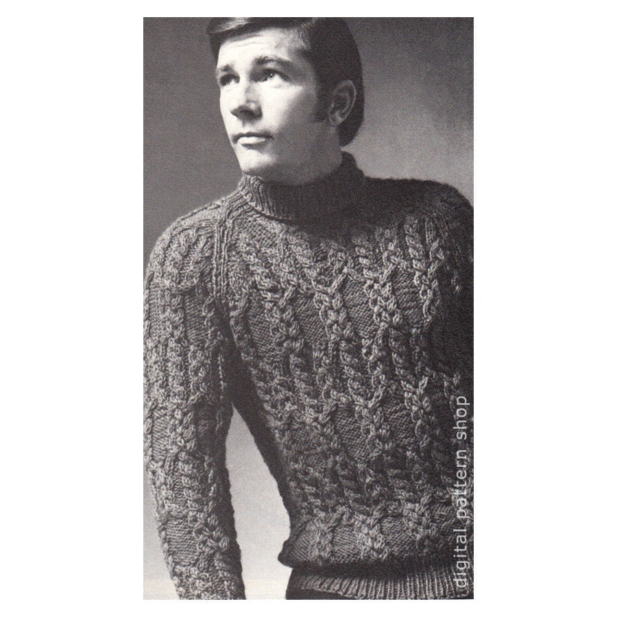 Mens Sweater Knitting Pattern Braided Cable Raglan Sweater