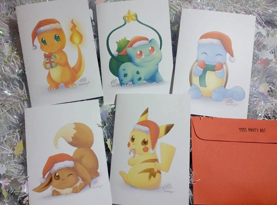 SET OF 5 Pokemon Christmas Greeting Cards