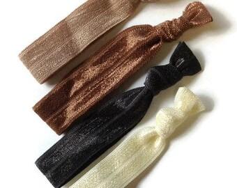 Neutral Hair Ties, Foldover elastic, ponytail holder, hair wrap, hairband, ponytail tie, elastic bracelet, woman hairtie