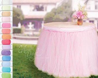 Table Tutu Skirt MADE TO ORDER 14 Color Options Tulle Tableskirt for Princess Birthday Party Wedding Bridal Shower Baby Showers Graduation