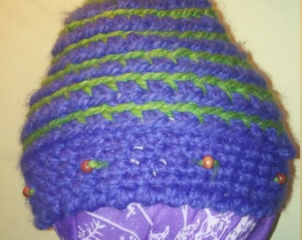 Purple and green beaded beanie