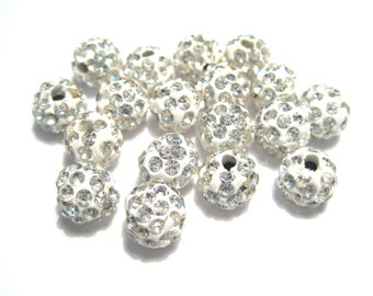 Crystal White Polymer Clay Rhinestone Beads Pave Disco Ball Beads - Grade A 8mm