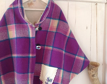 Childrens Girls Purple Check Winter Cape.Made To ORDER.