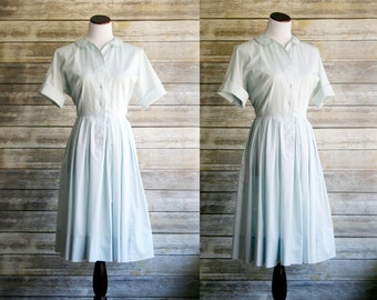 "50's shirtwaist dress. Powder blue cotton circle skirt, button down collar short sleeve. 50s 60s Housewife Large 31"" waist Nan Leslie"