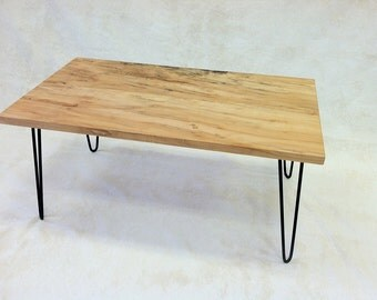 Ambrosia maple table with hairpin Eames style legs.  Salvaged wood.  Locally made in Alexandria, VA