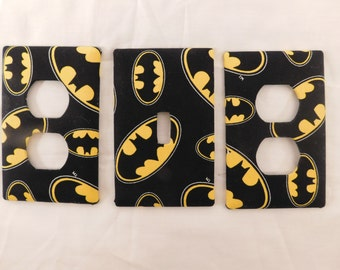 Batman Light Switch Plate Outlet Plug Cover Custom Kids Black and Yellow Rocker Cable Protective Plug Interts