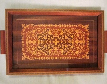 Italian Wood Serving Tray Inlaid Floral Marquetry