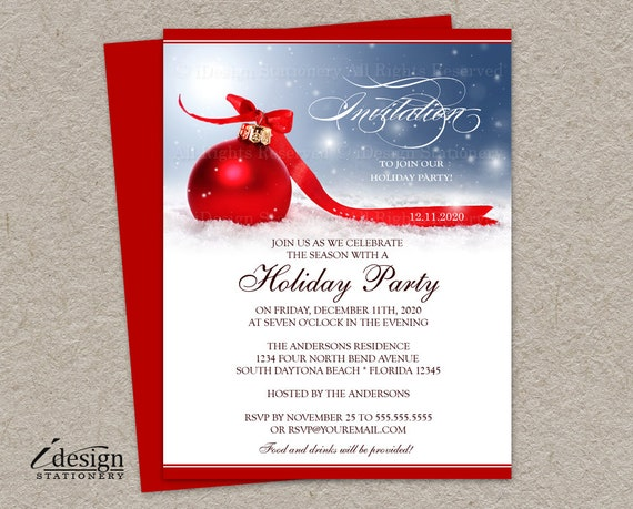 diy printable holiday party invitation christmas invitations. Black Bedroom Furniture Sets. Home Design Ideas