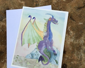 Set 4 blank notecards dragon with braces