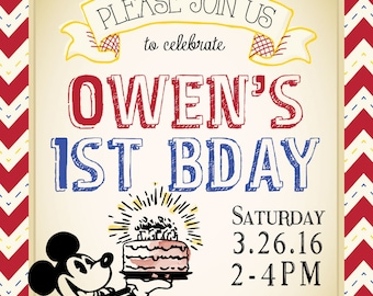 Classic Mickey Mouse Birthday Invitation (DIGITAL COPY)