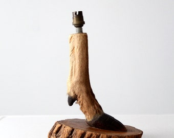vintage hoof lamp, European mounted deer hoof table lamp
