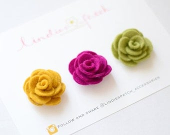 Set of 3 lapel flower pins for men | groom and groomsmen wedding Boutonniere alternative | gift ideas for him