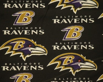 "Baltimore Ravens Football Black Sheeting Fabric Cotton 5 Oz 58-60"""