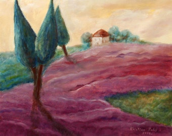 Lavender Fields Landscape Painting,  Acrylic on Canvas, Painting on Canvas, Wall Decor