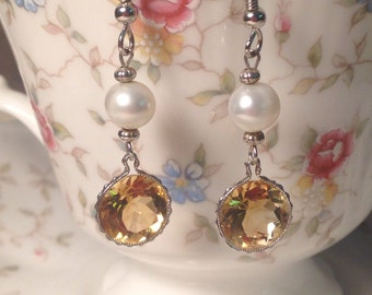 Citrine and pearl drop earrings set in silver