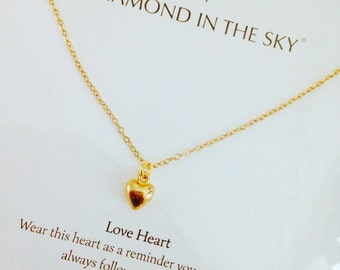 Gold heart loveheart Necklace on Gift Card