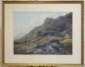 PAINTING SALE Antique watercolour painting 19c Welsh pastoral view Freight cost extra