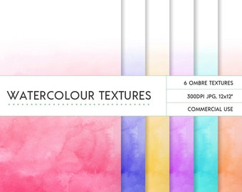 Rainbow ombre watercolor digital papers commercial use