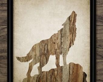 Howling Wolf Print - Wolf Wood Decor - Wolf Art Illustration - Wolf Design - Printable Art - Single Print #552 - INSTANT DOWNLOAD