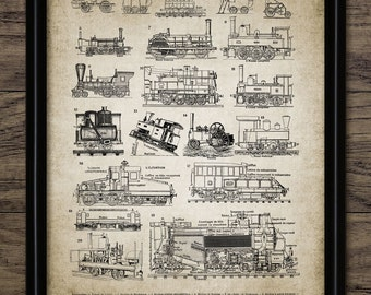 Vintage Steam Locomotive Print - Steam Train - Railroad - French Language Railway Illustration - Single Print #989 - INSTANT DOWNLOAD