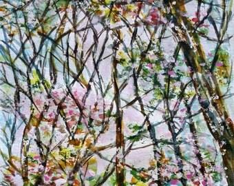 Watercolor original, trees, sky, landscape