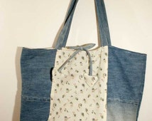 Upcycled denim bag. Handmade in Italy from cotton