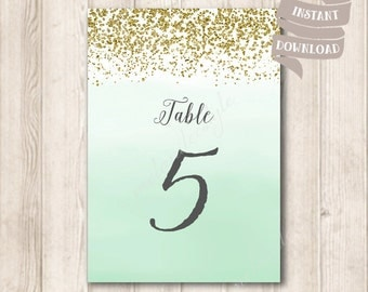 Gold and Mint Ombre Table Cards, Gold Glitter Table Number Card, Ombre Mint Green Watercolor Wedding Printable, INSTANT DOWNLOAD