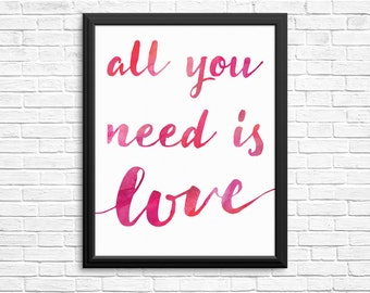 All You Need Is Love Watercolour Digital Print The Beatles