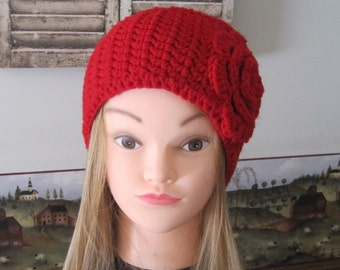 Ear warmer with flower Crochet Flower Headband Red Headband Red Ear Warmer Gift for her Womens Accessories