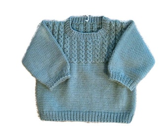 Knit Baby Sweater, Pullover 18 months, Knitted Sage Green Sweater for Baby Boy or Girl