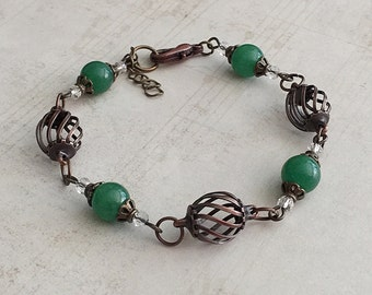 Green Bead Bracelet, Green Beaded Bracelets, Green Bracelet, Green Bracelets, Bronze Bracelets, Green Boho Bracelet, Glass Bead Bracelet