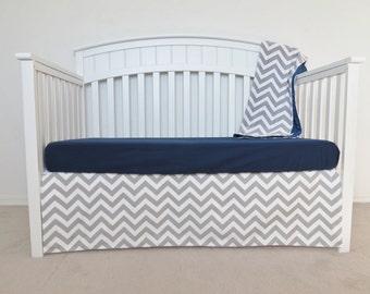 3 Piece Crib Set - Chevron crib set