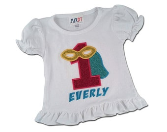 Girl Superhero Birthday Shirt with Glitter Number and Embroidered Name