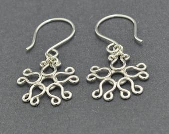 Sterling Silver Snowflake Earrings, Filligree Earrings, Silver Dangle Earring, Flower Earrings, Christmas Earrings