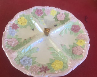 Vintage 1970's Handmade Floral Ceramic Mother Pearl sectioned dish