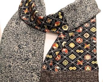 Kimono Scarf / Handmade Silk Scarf / Japanese Vintage Silk Kimono Fabric Scarf / 032803