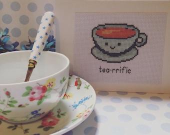 Kitchen decor, tea artwork, cross stitch artwork, kitchen artwork, cafe artwork, cafe decor, teacup artwork, kawaii decor, kawaii teacup