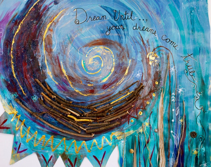 Abstract Dream Catcher, painting, Mixed media, Inspirational Quote