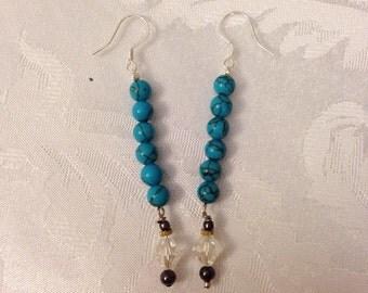 Turquoise Bead Drop Earrings