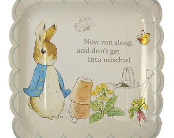 Peter Rabbit Large Plates (12), Meri Meri Boutique Tableware, 10 Inch Easter Plates, Baby Shower Party Supply