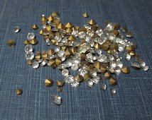 1950s vintage whitish colored clear Glass Rhinestones: various sizes, round, faceted, foil backed -lot Cloudy no4-