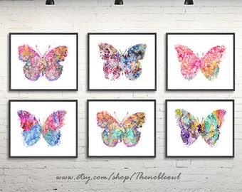 Butterfly print, butterfly art, watercolor butterflies painting, watrcolor art print set of 6  - F199/202, F193, F252