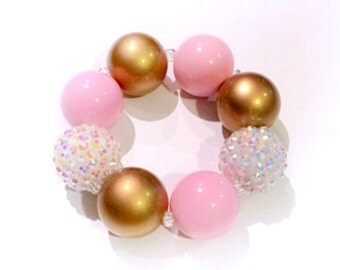 Pink and Gold Chunky Bracelet