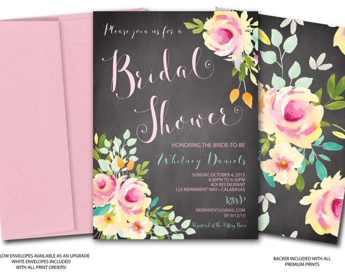 Chalkboard Bridal Shower Invitation // Watercolor // Roses // Peonies // Mint // Bridal Shower Invite // Pink // Yellow // VENICE COLLECTION